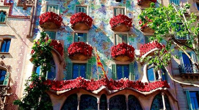 На каталонський День закоханих (23 квітня) трояндами заквітчано буквально все