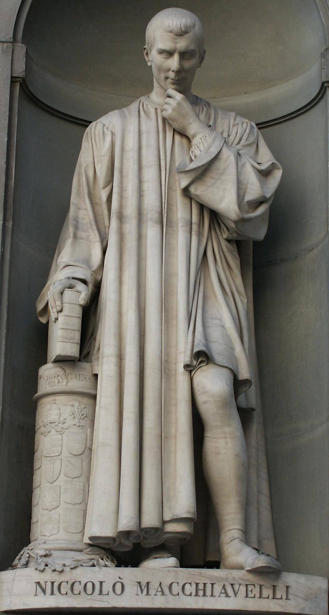 Статуя Нікколо Макіавеллі (із серії «Великі флорентійці») Лоренцо Бартоліні, галерея Уффіці, Флоренція, Італія