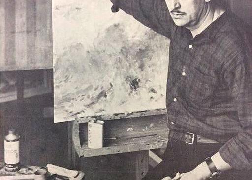 Олекса Булавицький в майстерні за роботою