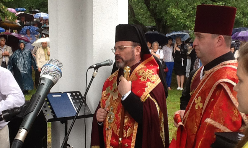 Виступає владика Ярослав (Приріз) – єпископ Самбірсько-Дрогобицької єпархії УГКЦ