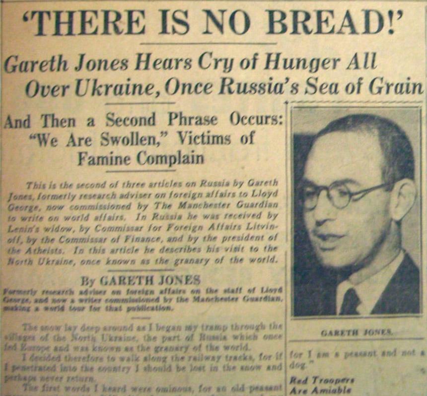 репортаж Ґарета Джонса в західних газетах