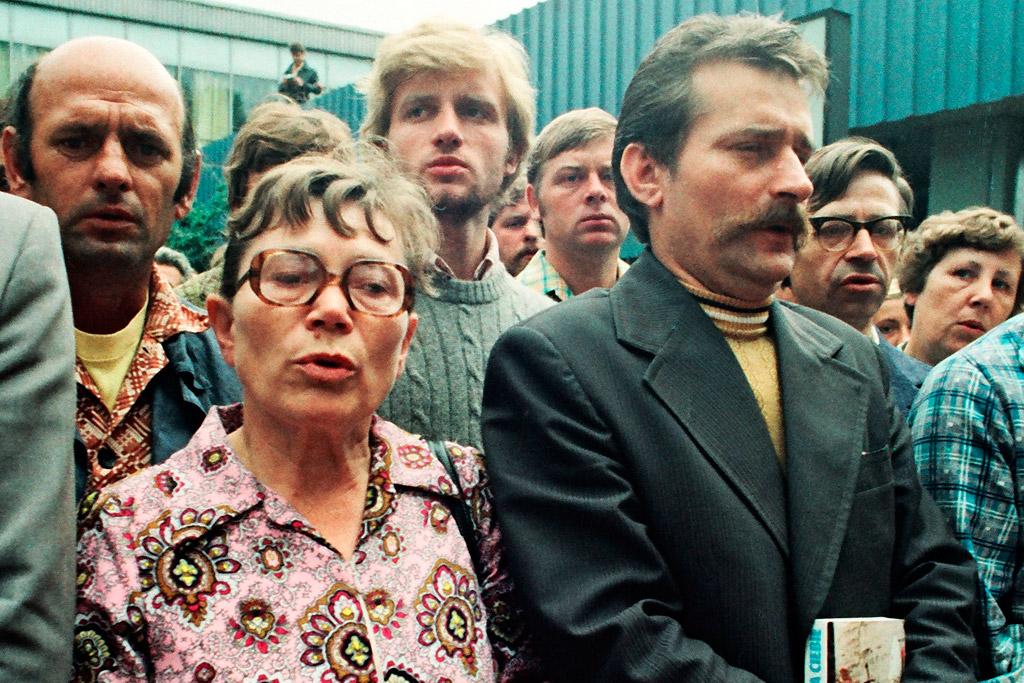 Анна Валентинович з Лехом Валенсою на мітингу