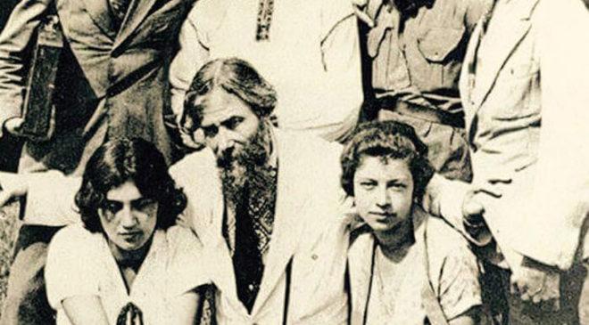 Олекса Новаківський з учнями на пленері в Космачі