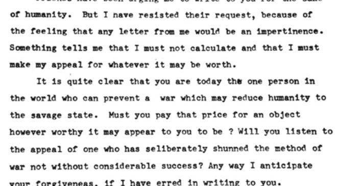 Перший лист М. Ганді до А. Гітлера