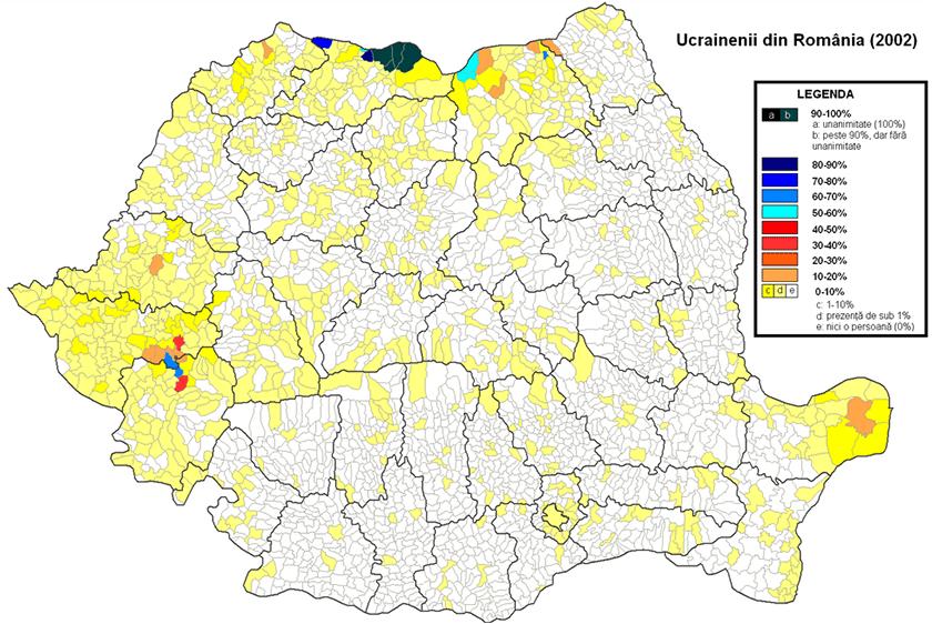 Мапа розселення українців на території Румунії