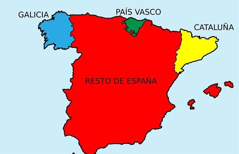 Галісія, Країна Басків, Каталонія, решта Іспанії
