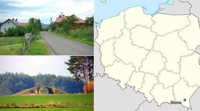 Село Лішня на мапі Польщі