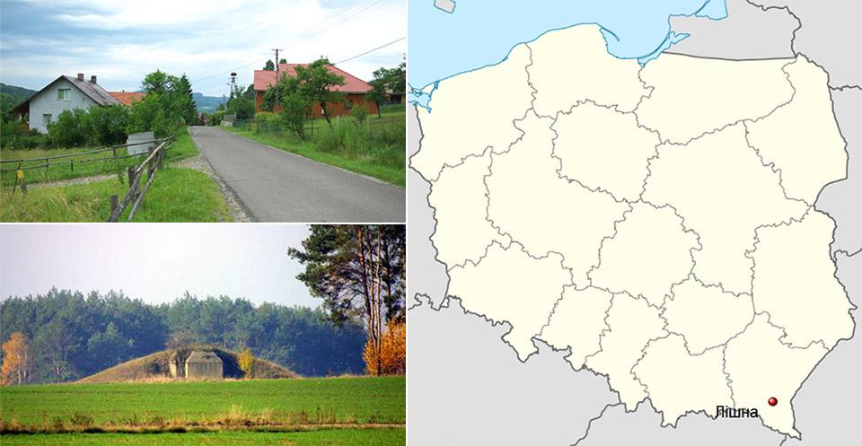 Село Лішна на мапі Польщі