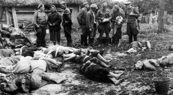 Тіла українців, убитих відділом «Народових Сіл Збройних»