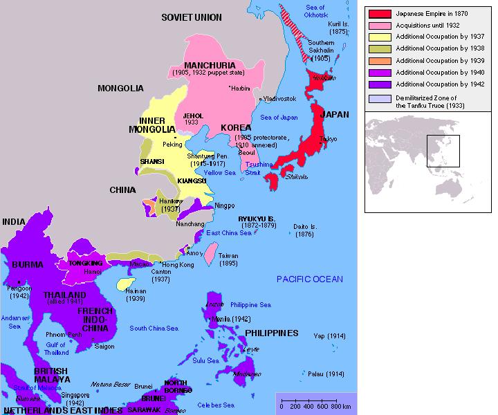 Мапа територіальних завоювань Японської імперії
