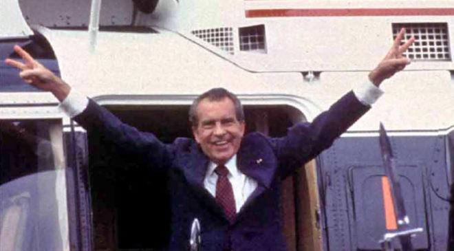 Річард Ніксон покидає Білий Дім після відставки