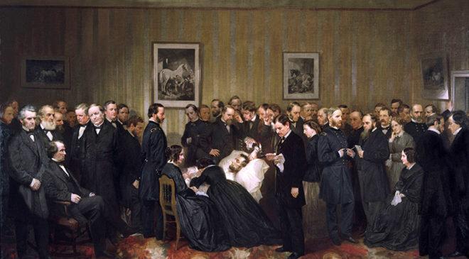 Картина американського художника Алонцо Чапеля «Останні години Авраама Лінкольна»