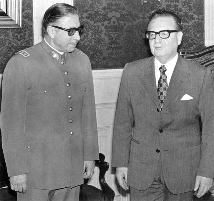 Генерал сухопутних військ Августо Піночет і президент Чилі Сальвадор Альєнде
